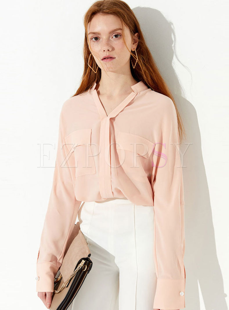 Solid Color Long Sleeve Single-breasted Blouse