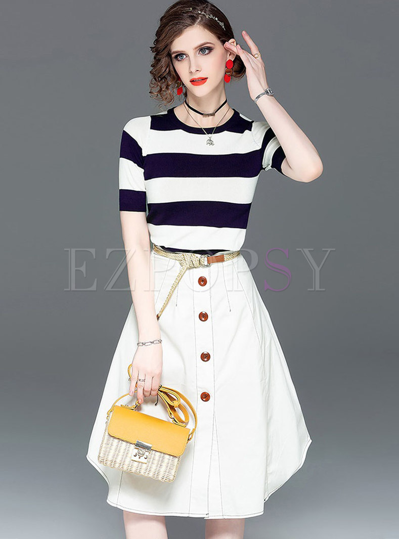 Striped O-neck Knitted Top & High Waist Single-breasted Skirt