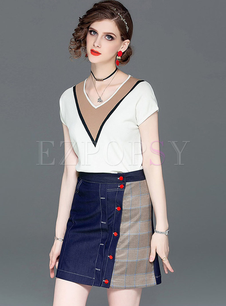 Color-blocked V-neck Slim Top & Splicing Mini Skirt