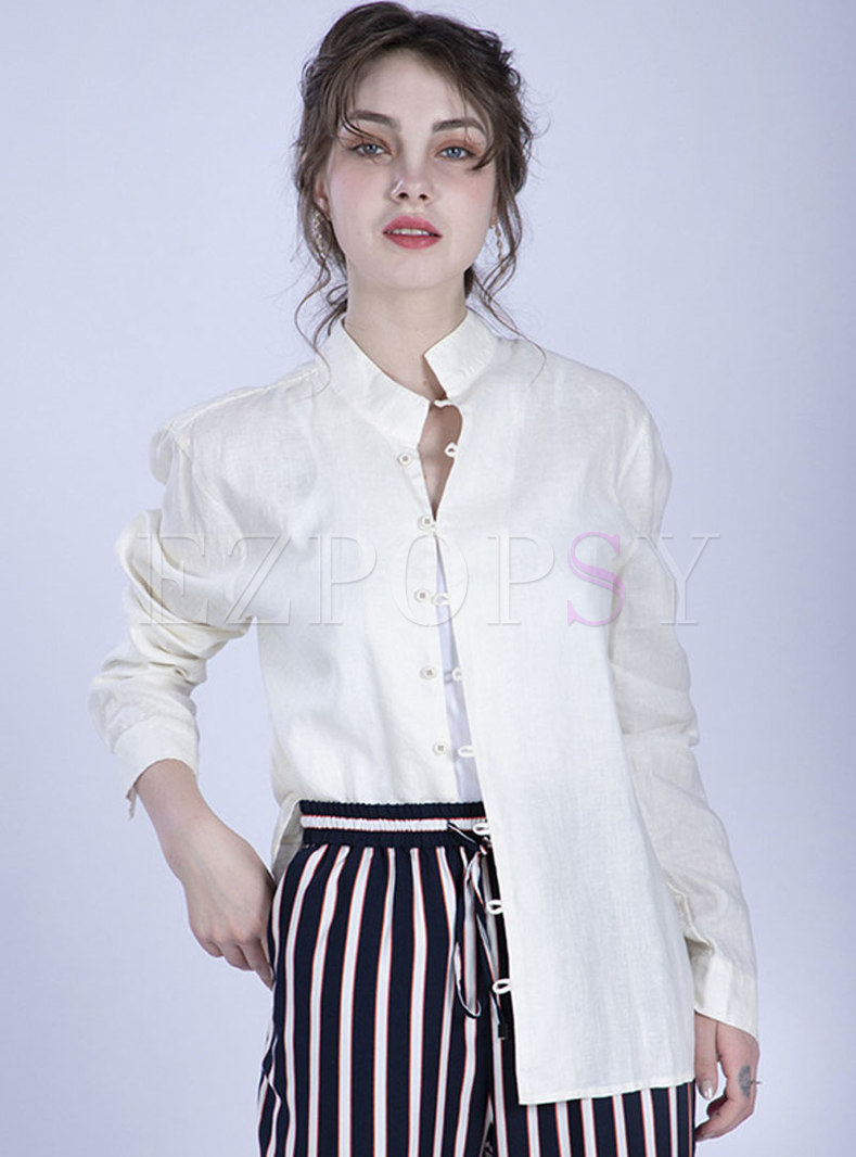 Vintage Ethnic Stand Collar Single-breasted Blouse