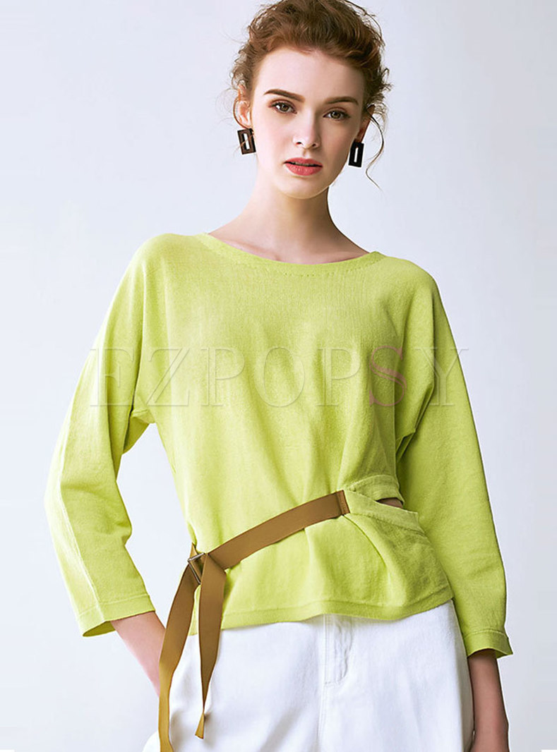 Chic O-neck Belted Hollow Out Knitted Top