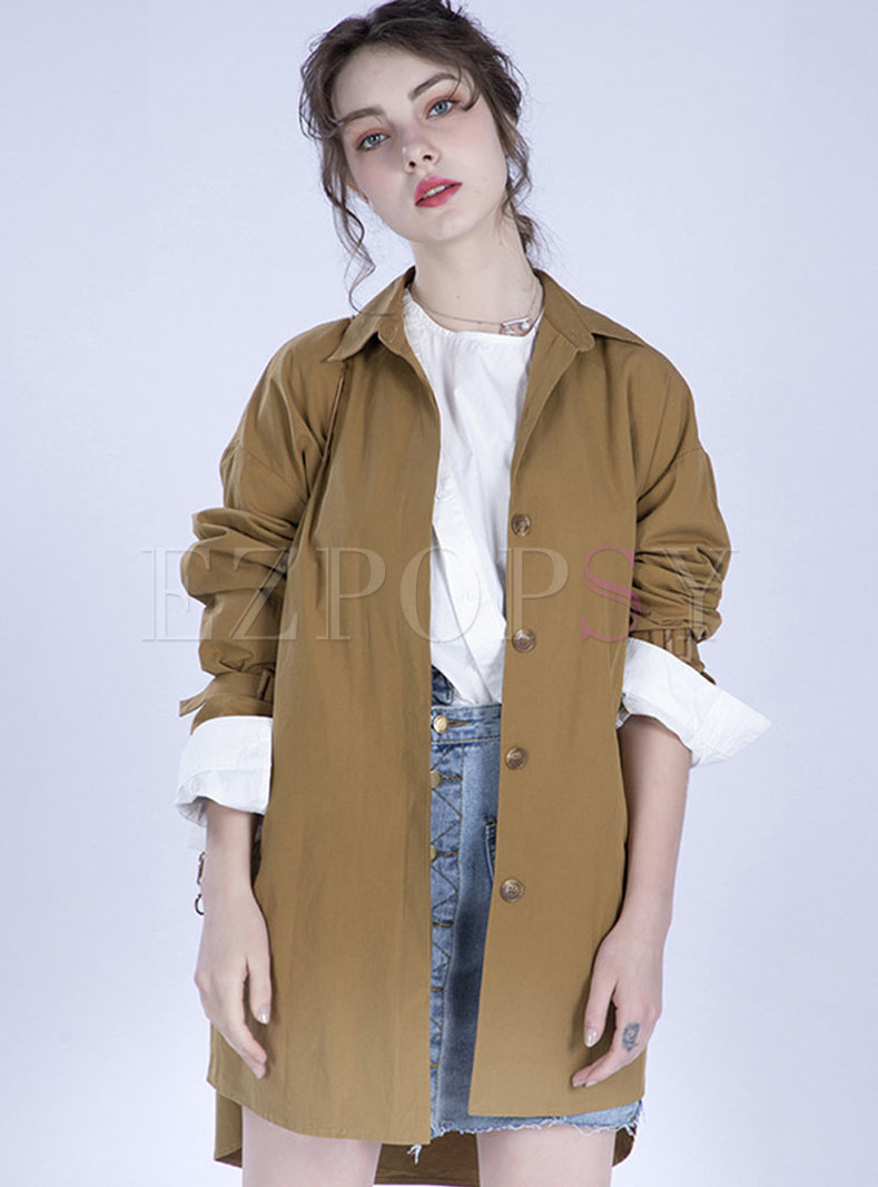 Chic Lapel Gathered Waist Tied Pure Color Trench Coat