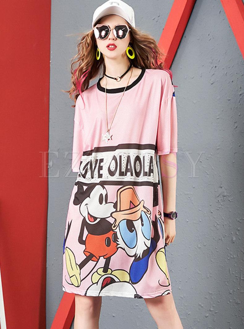 Cartoon Pattern Hollow Out T-shirt Dress