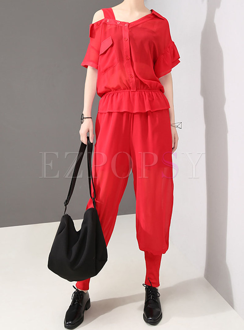 Chic Summer Solid Color Off Shoulder Jumpsuit