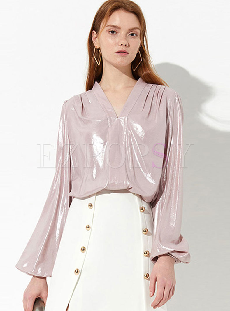 Brief Solid Color Lantern Sleeve Loose Blouse