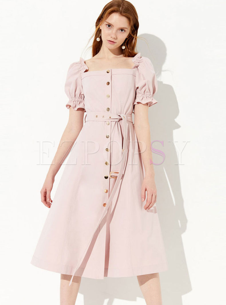 Sweet Square Neck Single-breasted Tie-Waist Dress
