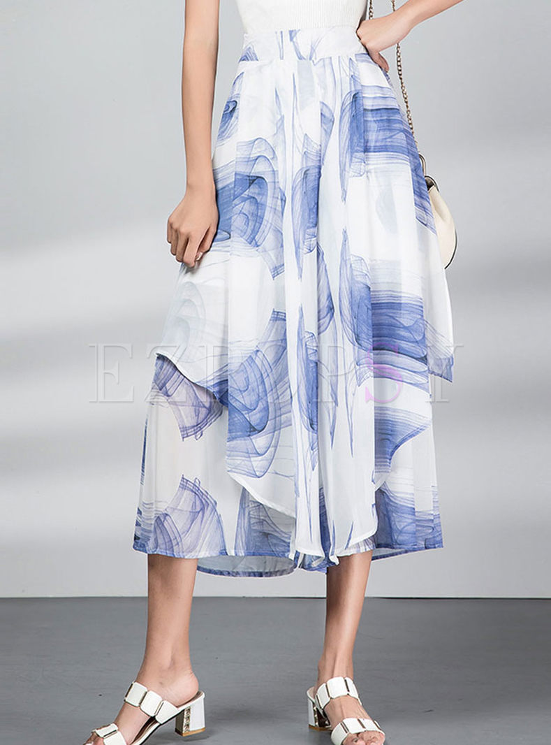 High Waisted Print Chiffon Wide Leg Pants