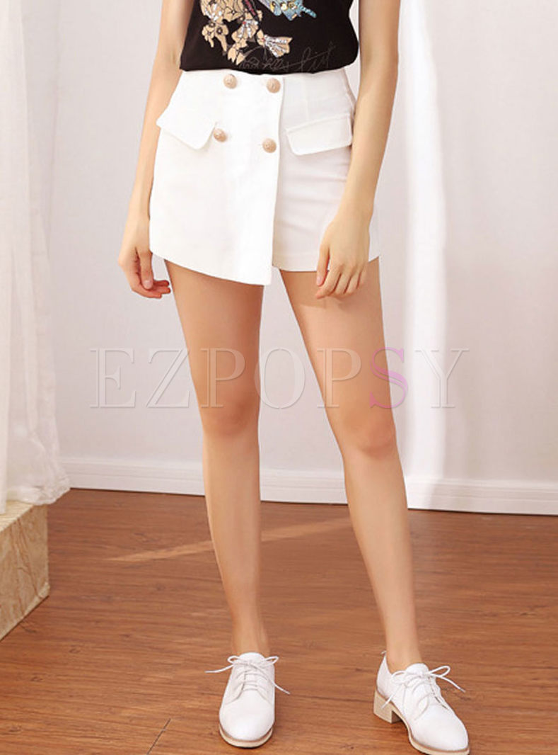 Fashion High Waist Solid Color Shorts