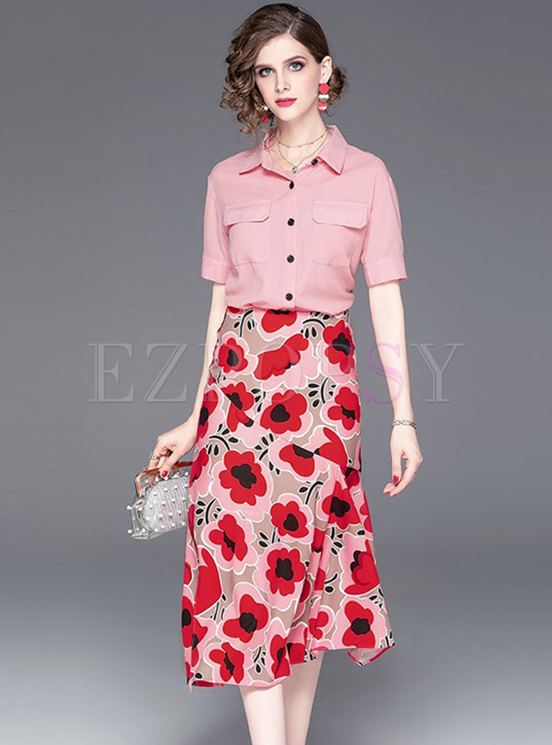 Pure Color Lapel Top & Print Sheath Mermaid Skirt