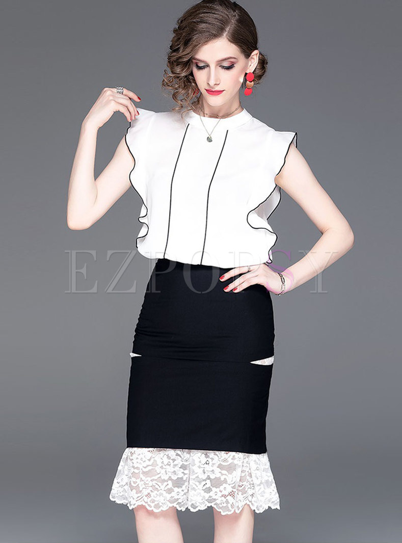 Color-blocked Sleeveless Top & Lace Splicing Mermaid Skirt