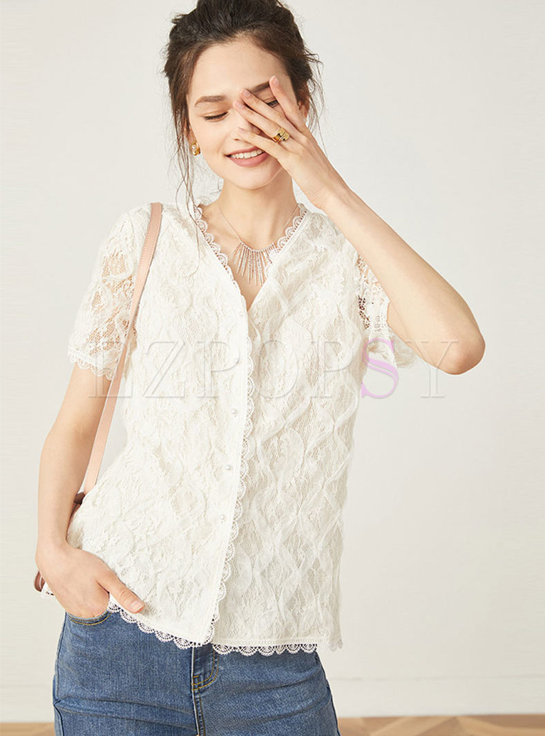 Chic Lace V-neck Short Sleeve Single-breasted Top