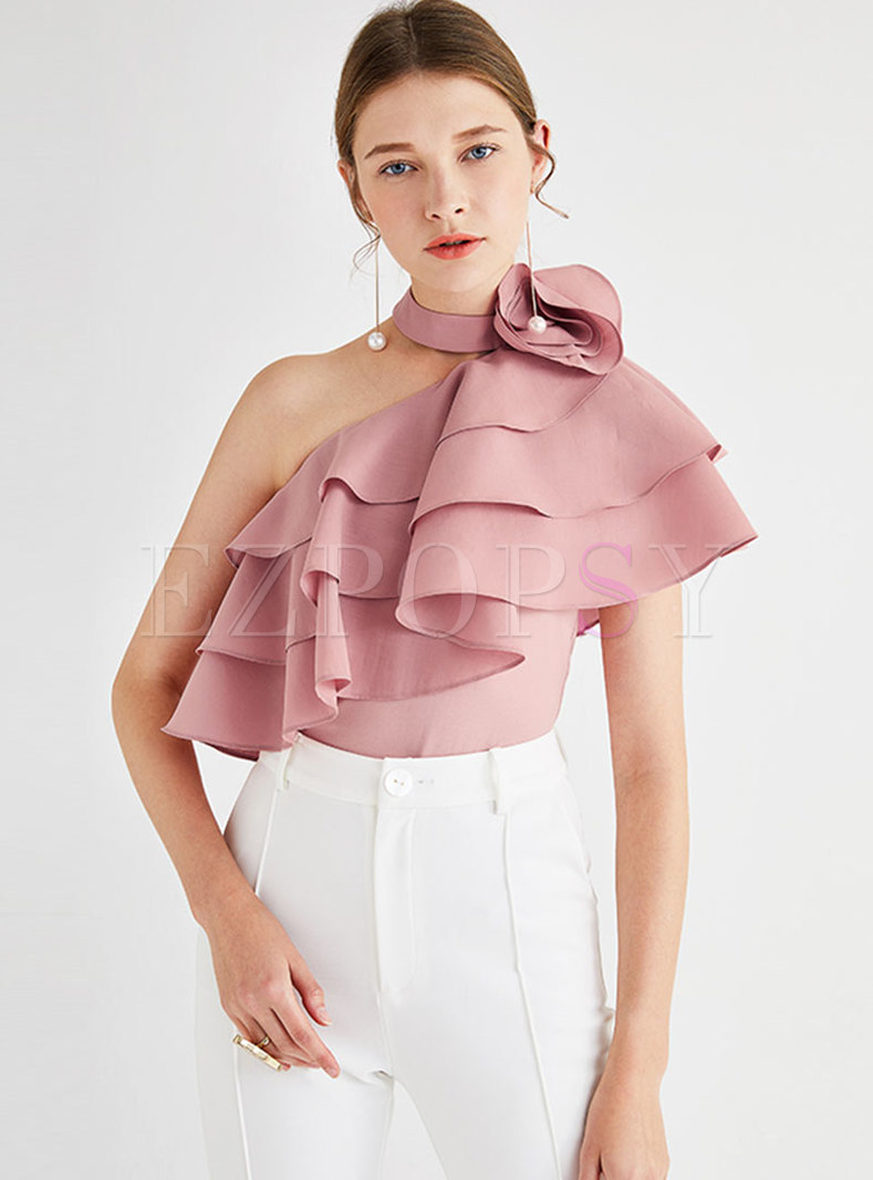 Chic Stand Collar Off Shoulder Falbala Top