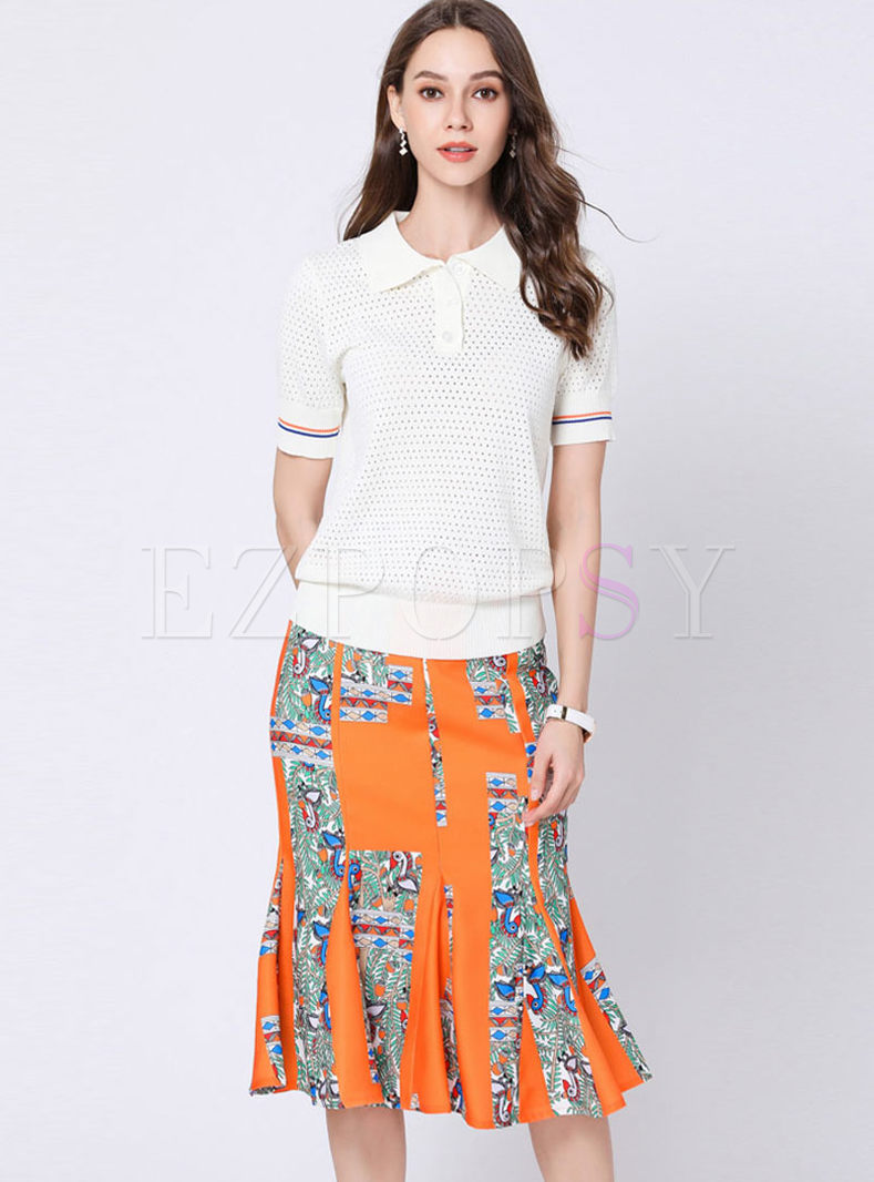 Casual Lapel Hollow Out T-shirt & Print Mermaid Skirt