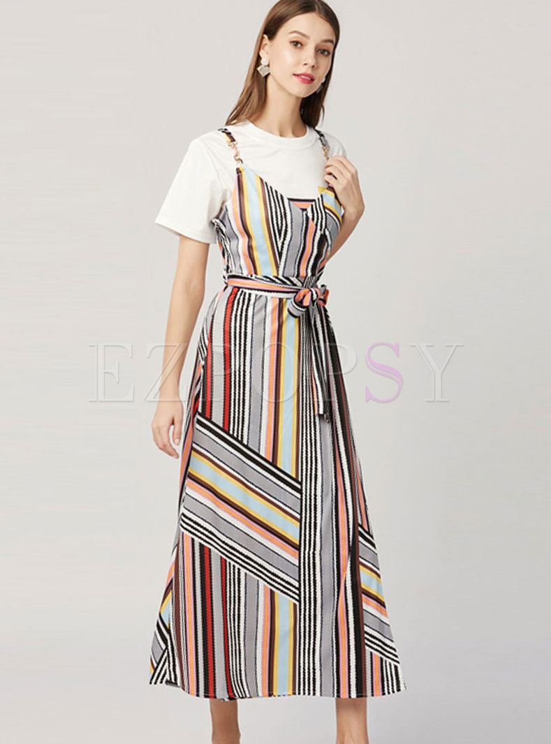 Casual O-neck Pullover T-shirt & Stripe Bowknot Waist Dress