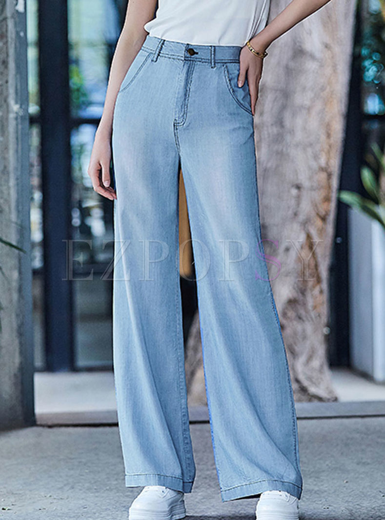 Casual High Waist Wide Leg Long Pants