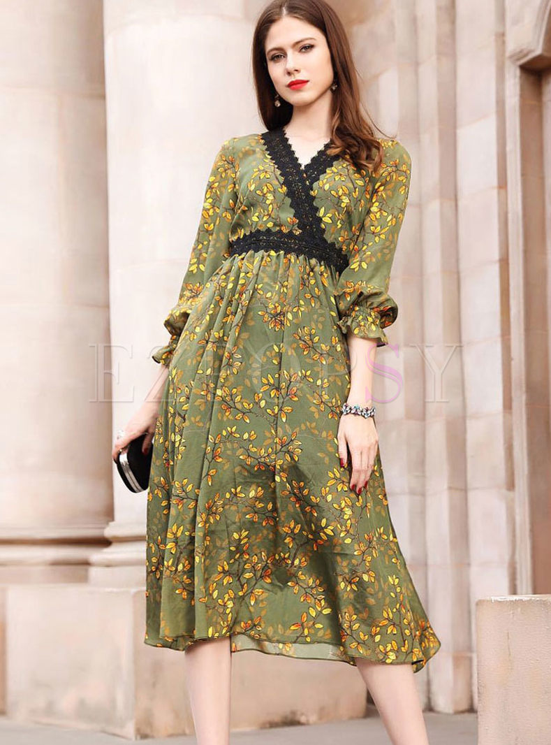 V-neck Plus Size Print Big Hem Silk Dress