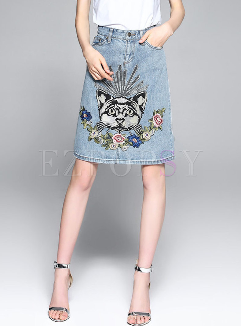 All-matched Denim Cartoon Embroidered A Line Skirt