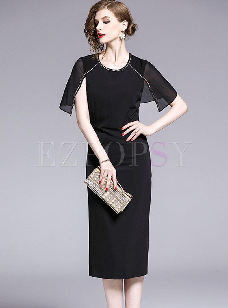 Elegant O-neck Cape Drilling Bodycon Dress