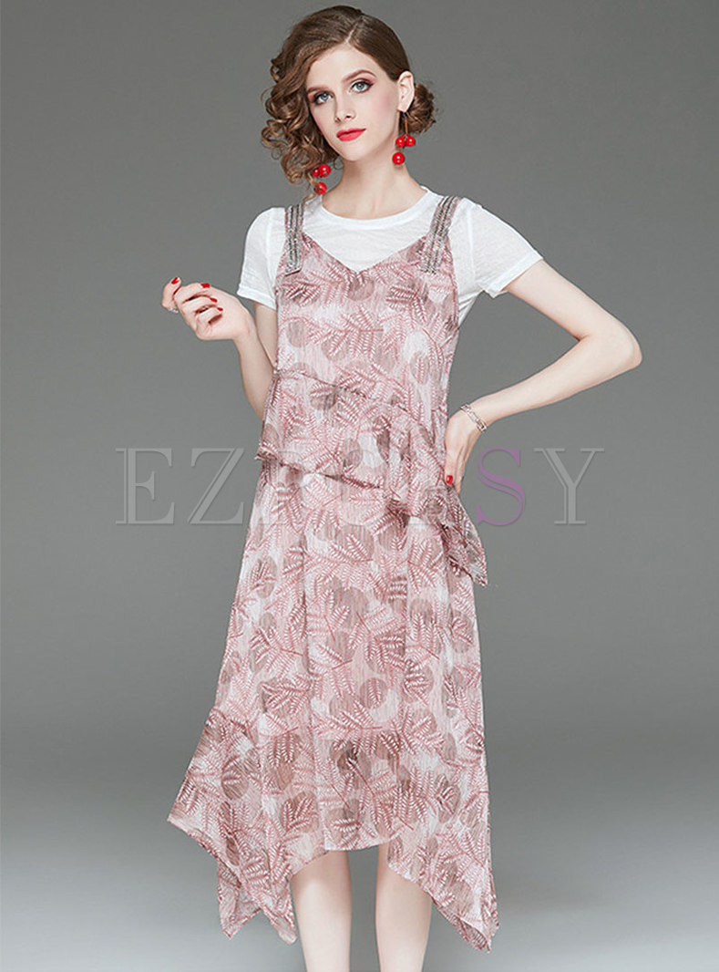 Casual O-neck T-shirt & Print V-neck Asymmetric Slip Dress