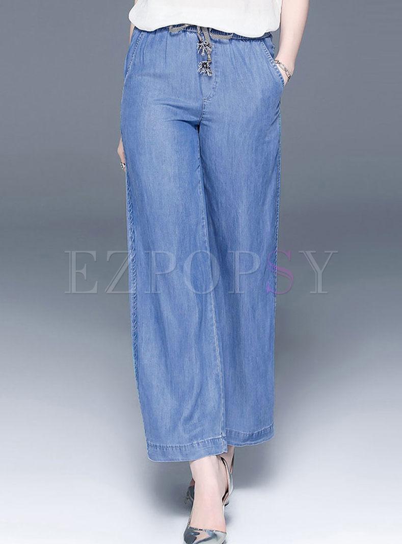 Fashion High Waist Tied Wide Leg Pants