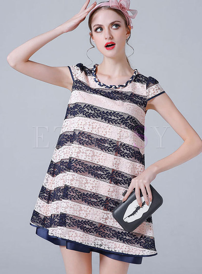Brief Plus Size Stripe Lace Loose Dress