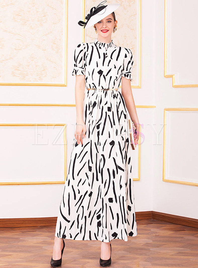 Casual Print Gathered Waist Big Hem Maxi Dress