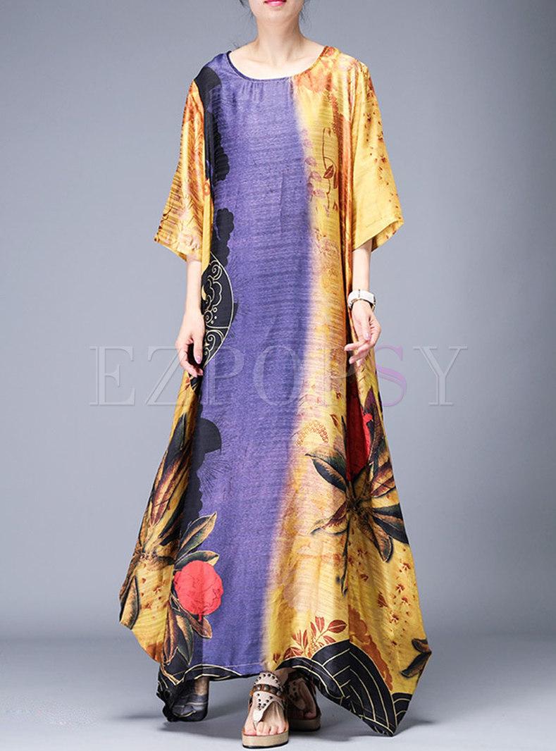 Vintage O-neck Asymmetric Print Loose Maxi Dress