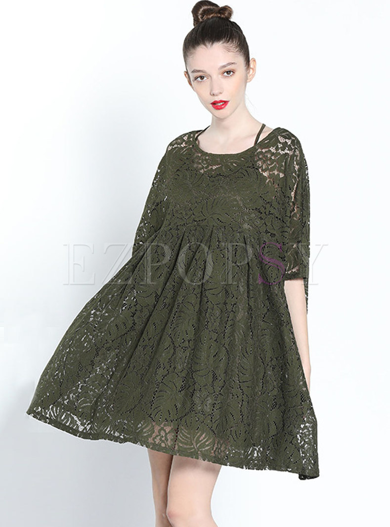 Solid Color Lace Hollow Out Loose Shift Dress
