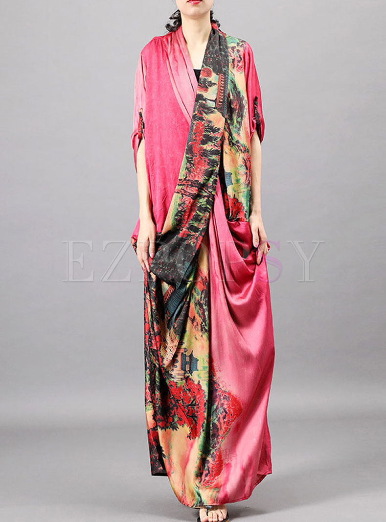 Retro Three Quarters Sleeve Print Silk Dress