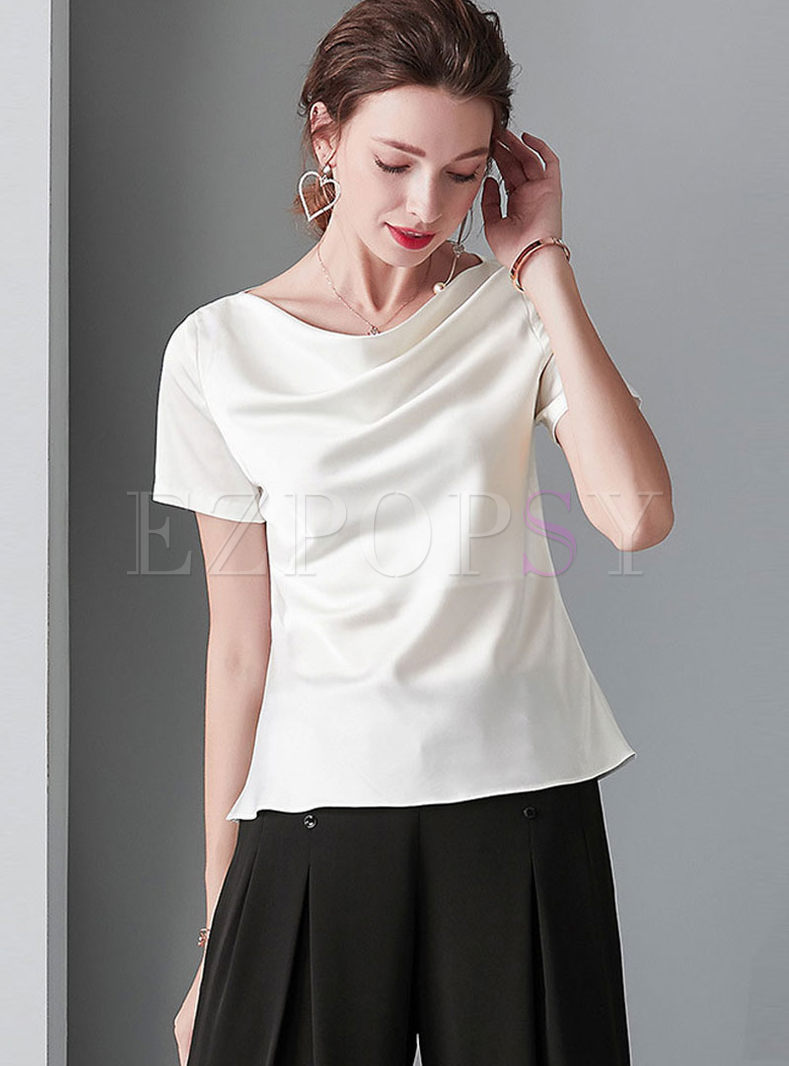 Brief Solid Color Short Sleeve Pullover T-shirt