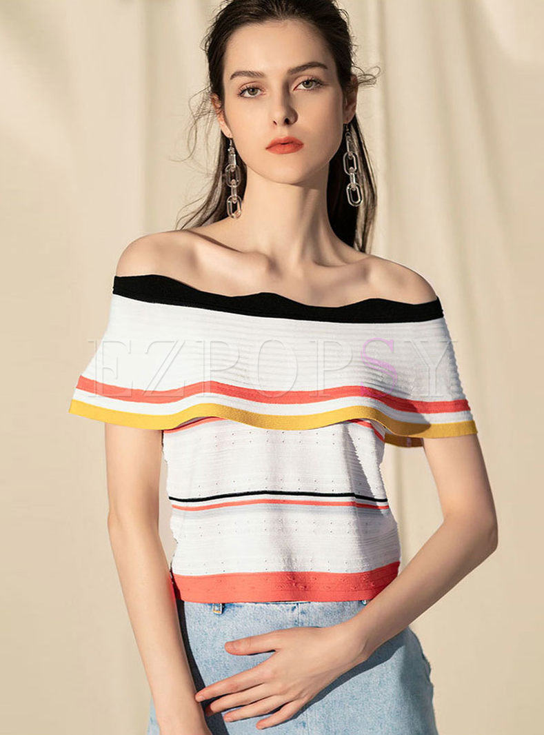 Slash Neck Falbala Color-blocked Knitted Top