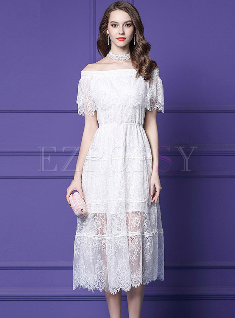 Stylish Lace Slash Neck Elastic Waist Slim Dress