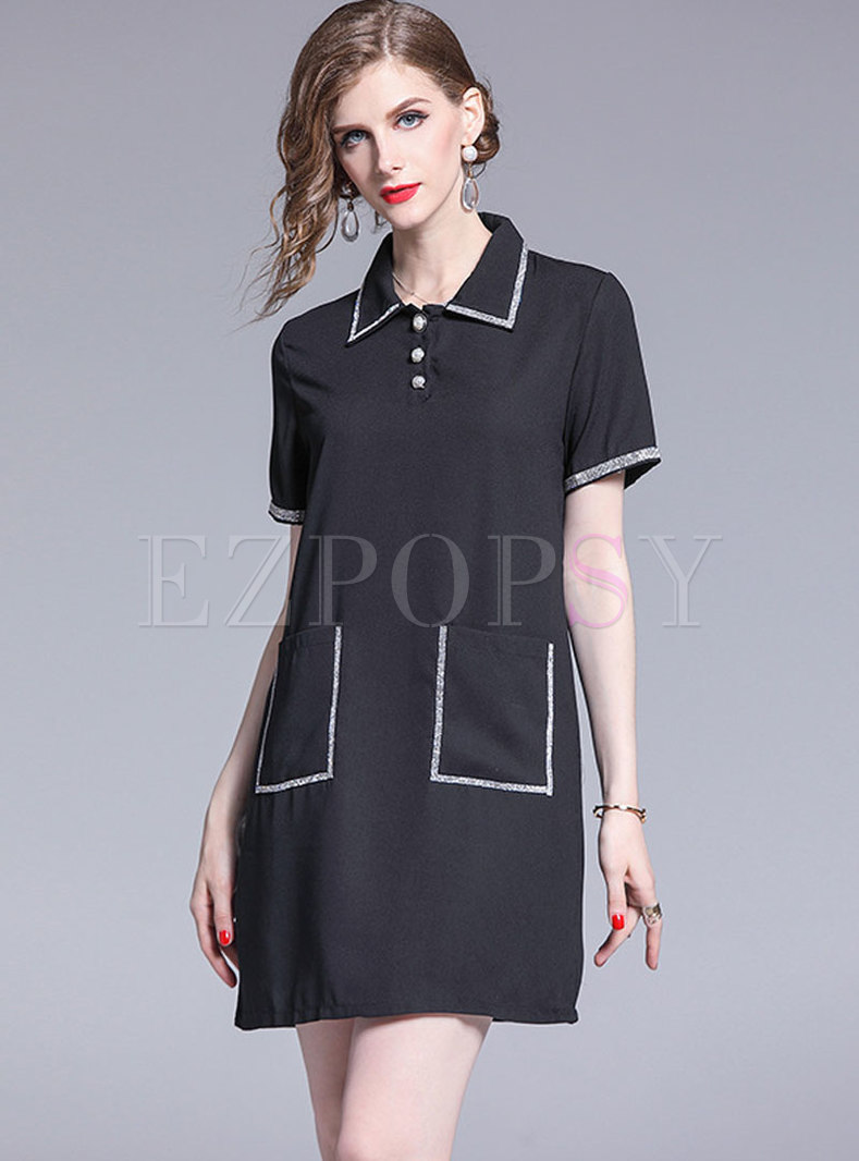 Brief Turn-down Collar Embroidered Loose Shift Dress
