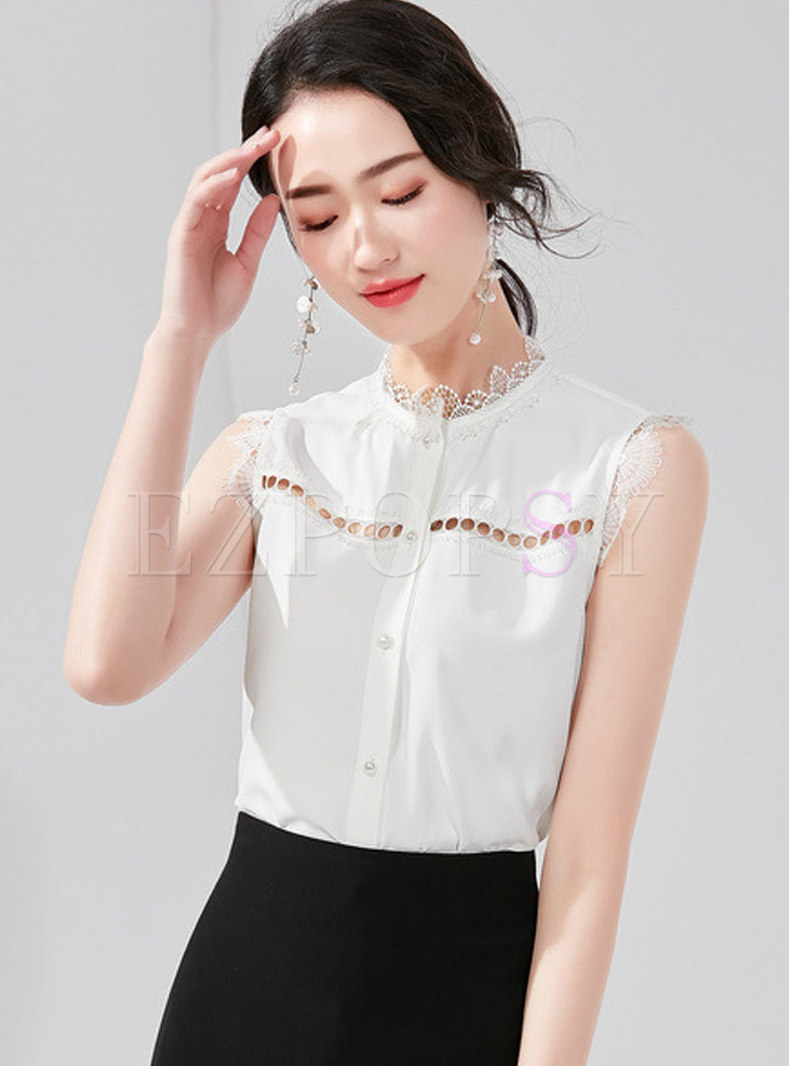 Pure Color Lace Stand Collar Hollow Out Sleeveless Blouse