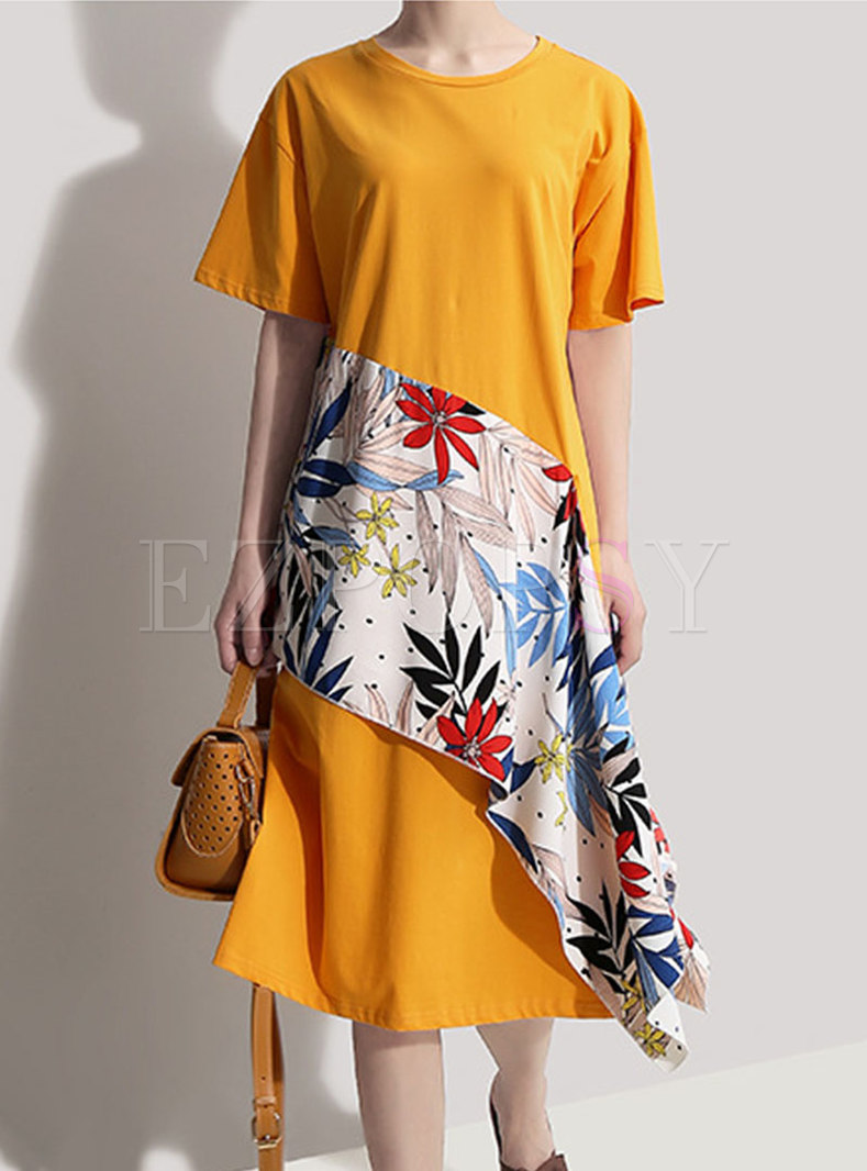 Stylish Print Splicing O-neck T-shirt Dress