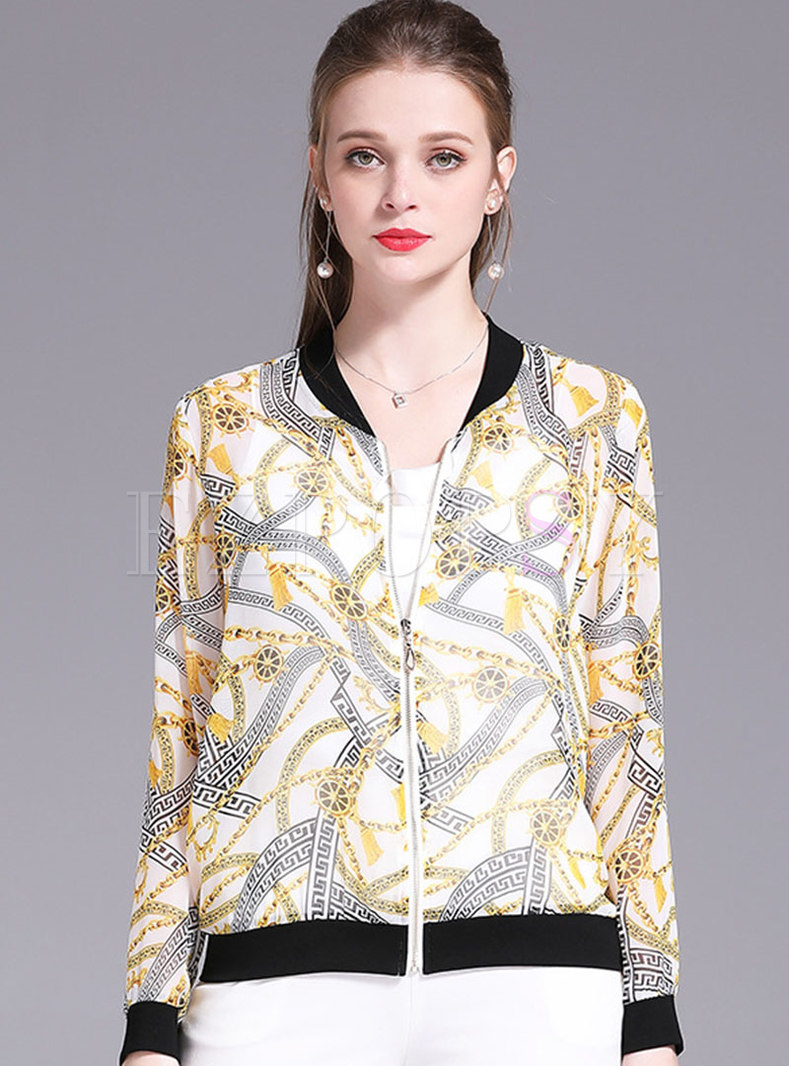 Print O-neck Zipper Casual Short Coat