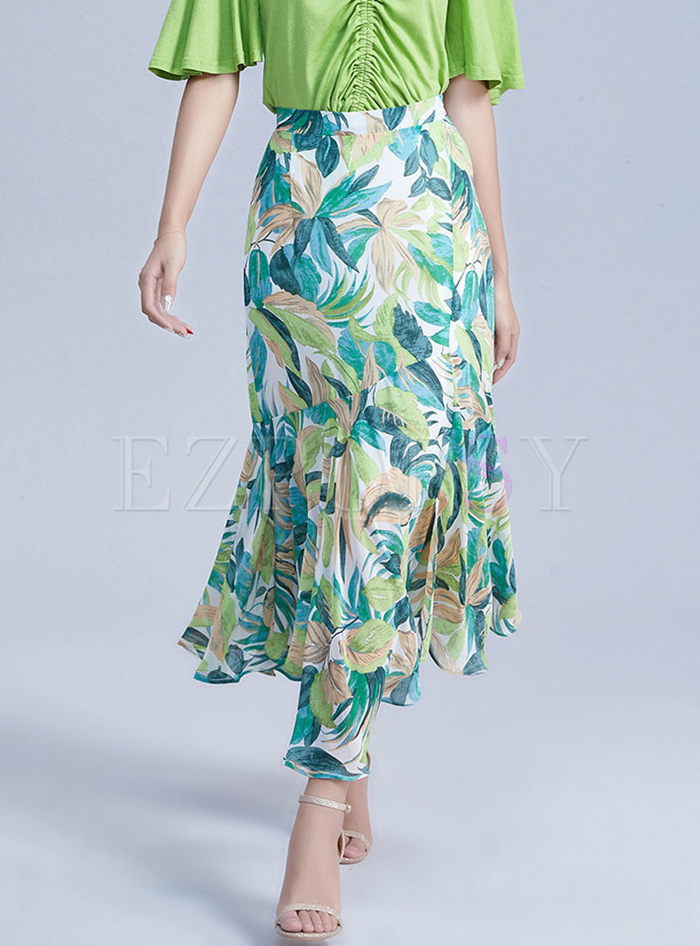 Chic Print Falbala Chiffon Mermaid Long Skirt