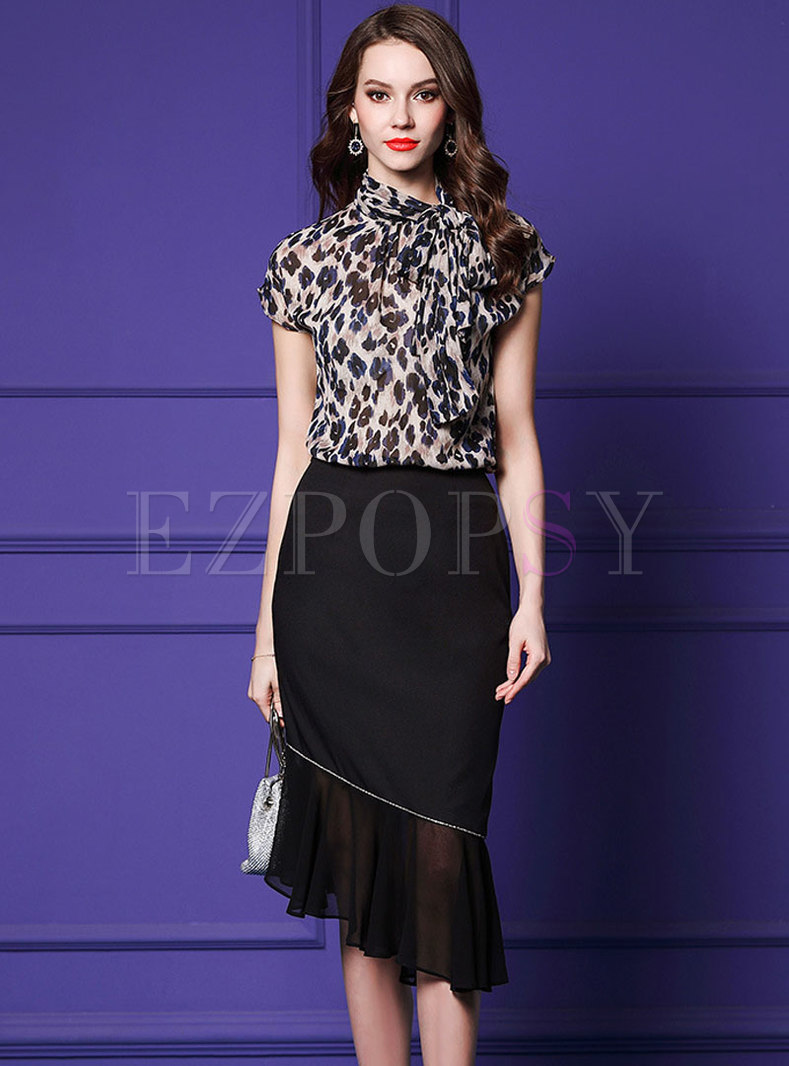 Elegant Leopard Top & Black Irregular Sheath Skirt
