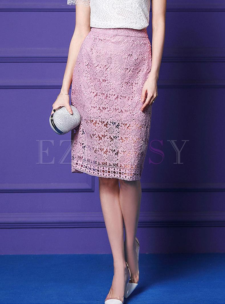 Elegant Lace Hollow Out High Waist Sheath Skirt
