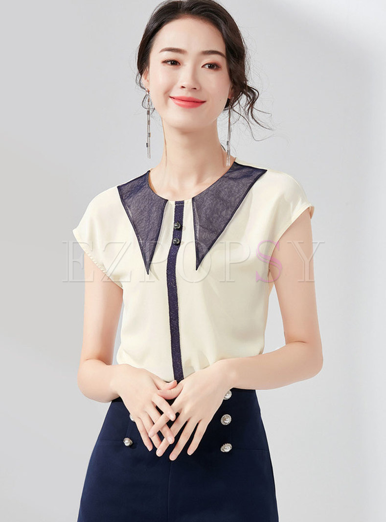 Stylish Hit Color O-neck Sleeveless Top