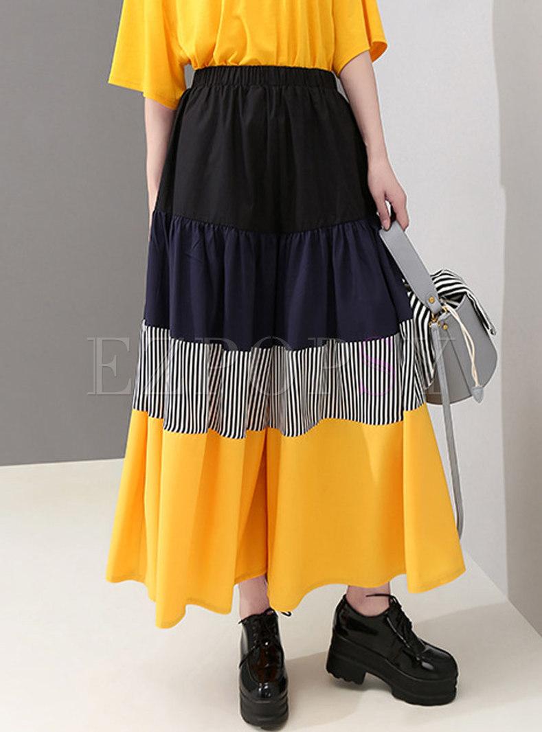 Stylish Color-blocked Splicing High Waist Wide Leg Pants