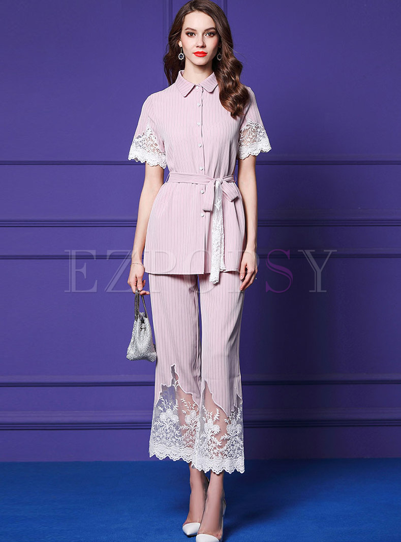 Sweet Pink Tied Striped Top & Embroidered Lace Splicing Pants