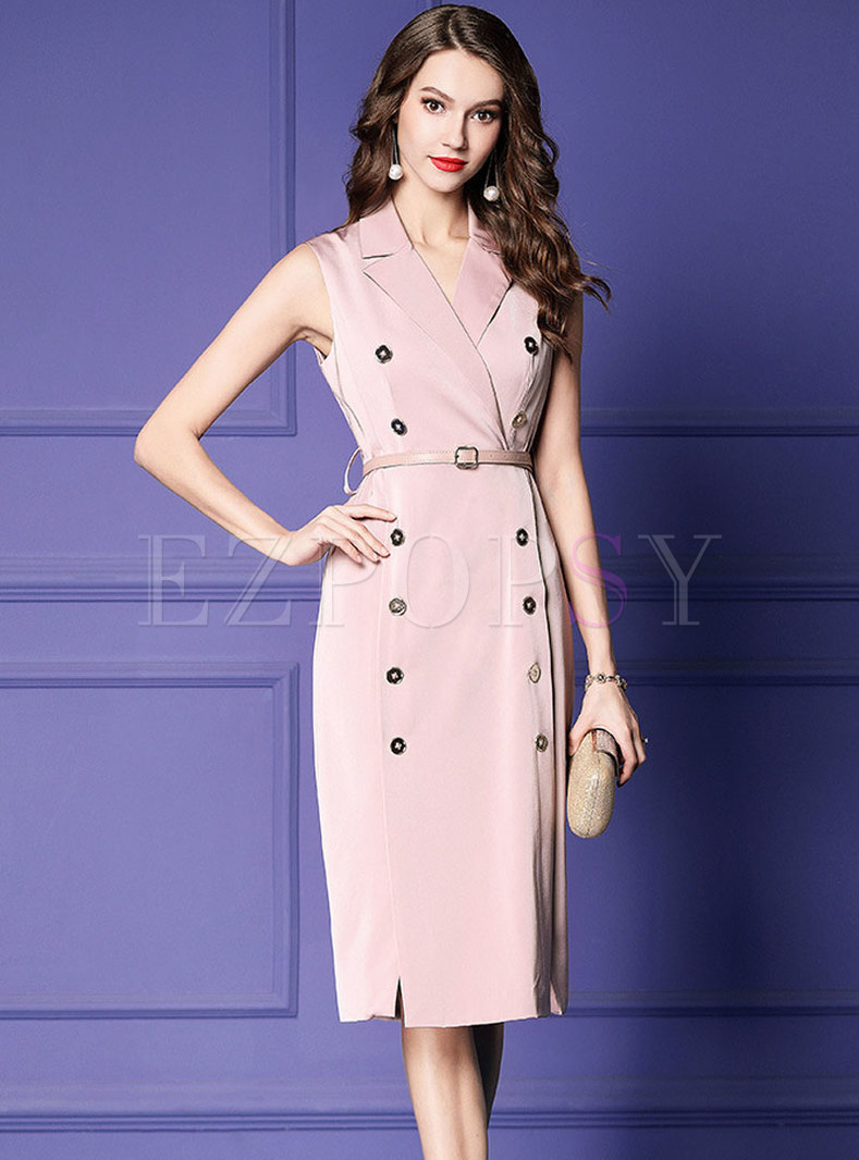Elegant Work Lapel Double-breasted Split Bodycon Dress