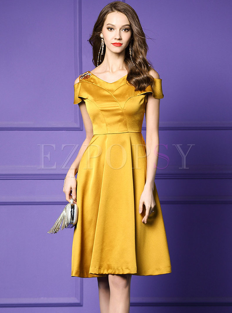 Solid Color V-neck High Waist Skater Dress