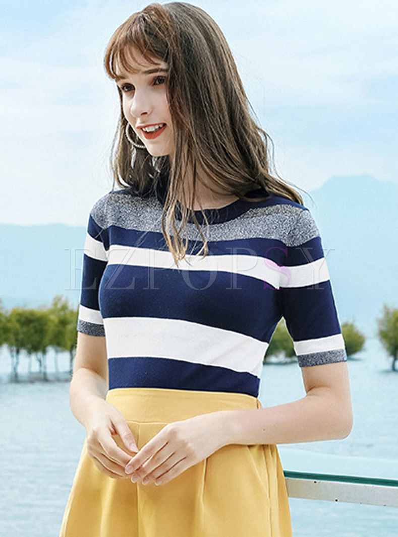 All-matched O-neck Striped Knitted T-shirt