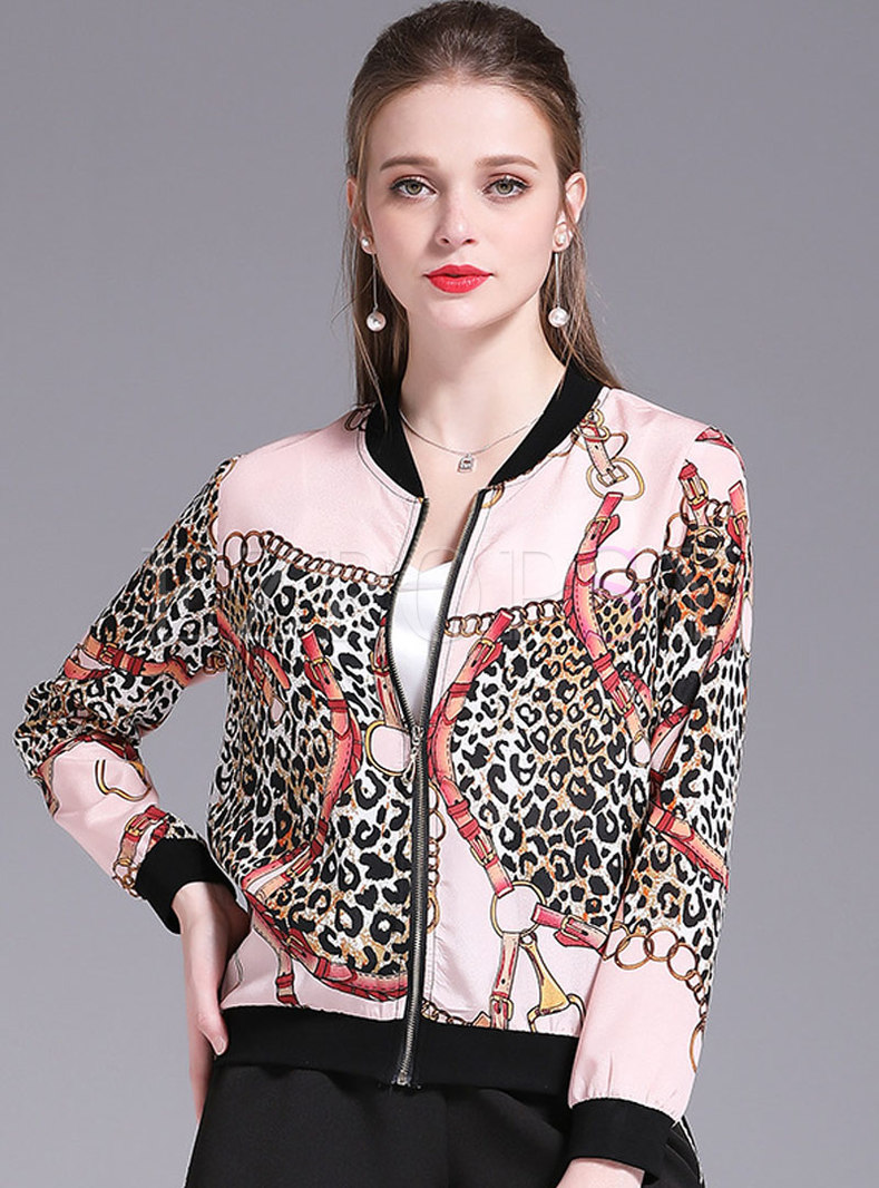 Personality Print Color-blocked Leopard Chiffon Coat