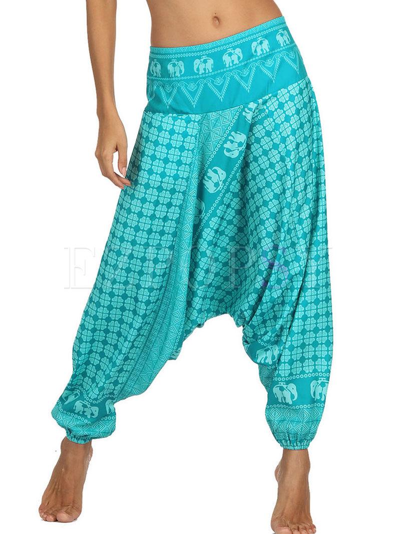 Plus Size Geometric Print Yoga Lantern Pants