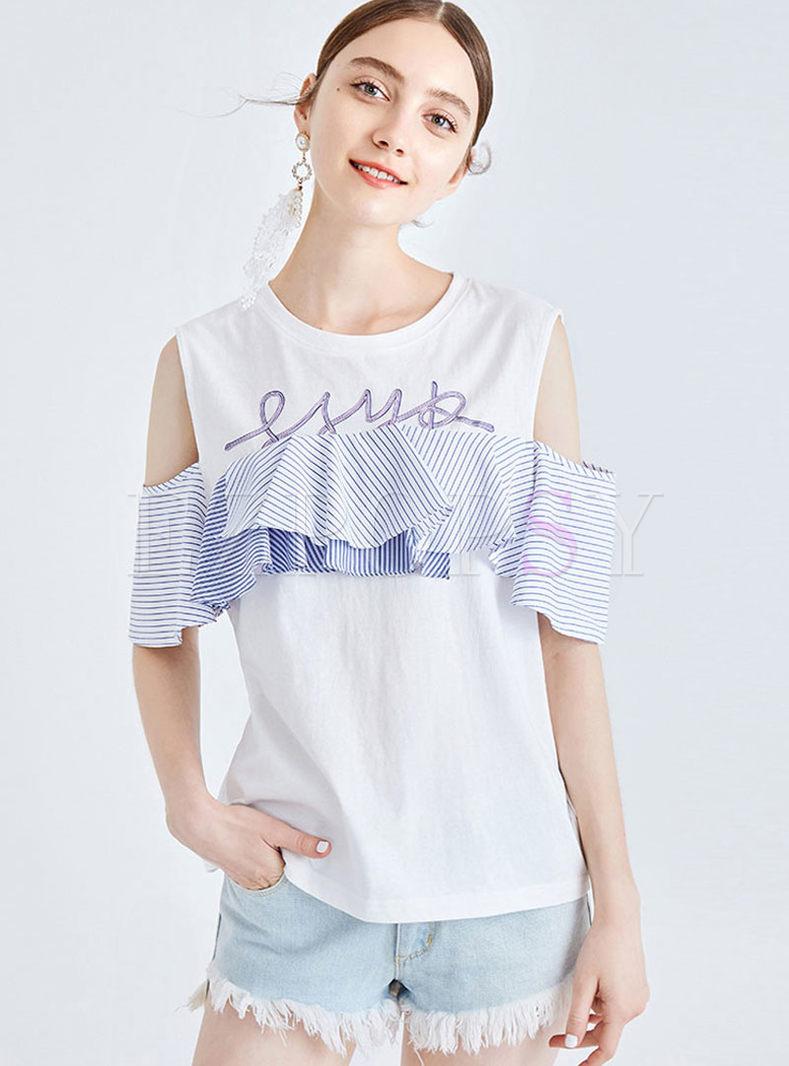O-neck Off Shoulder Splicing Falbala T-shirt