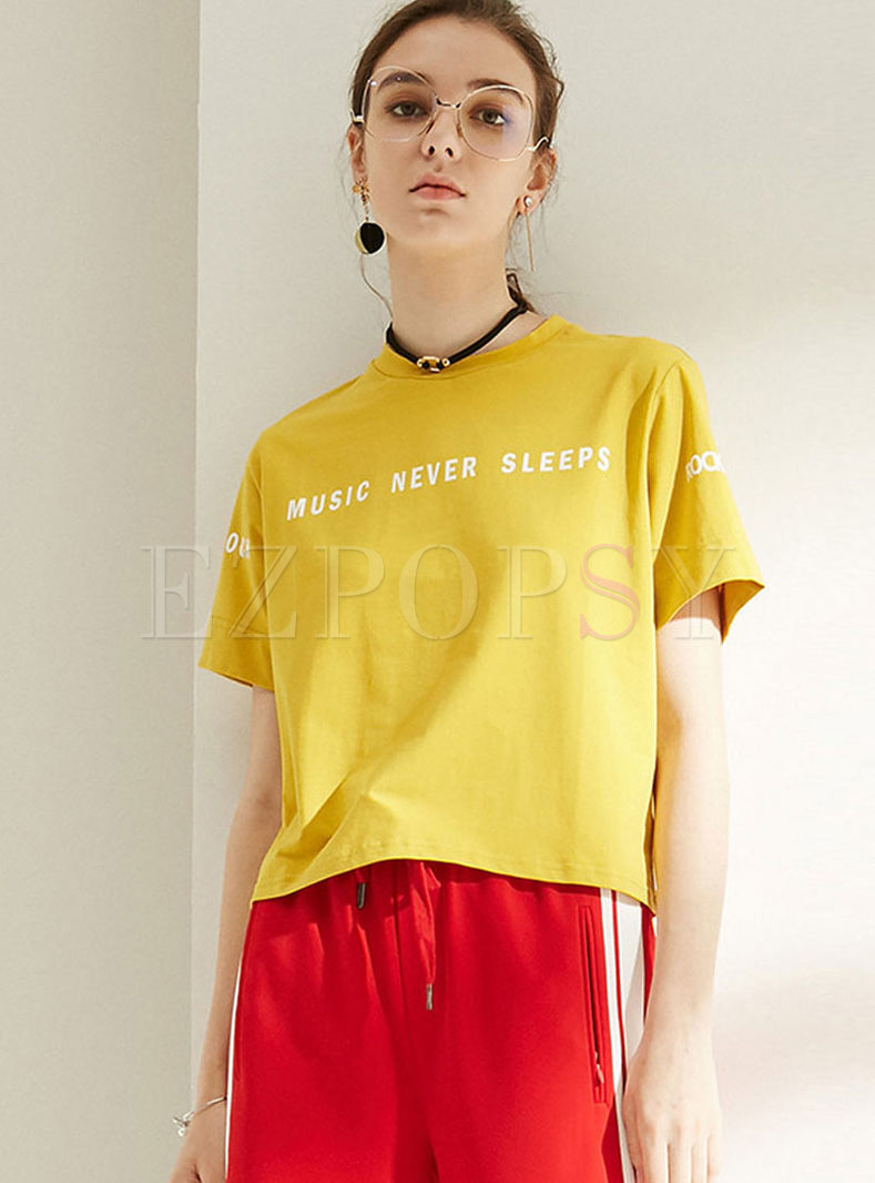 Brief O-neck Pullover Letter Print T-shirt
