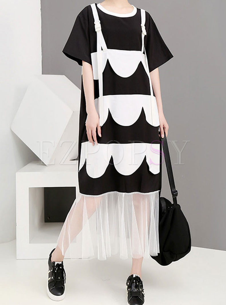 Stylish O-neck Color-blocked Print Plus Size Dress